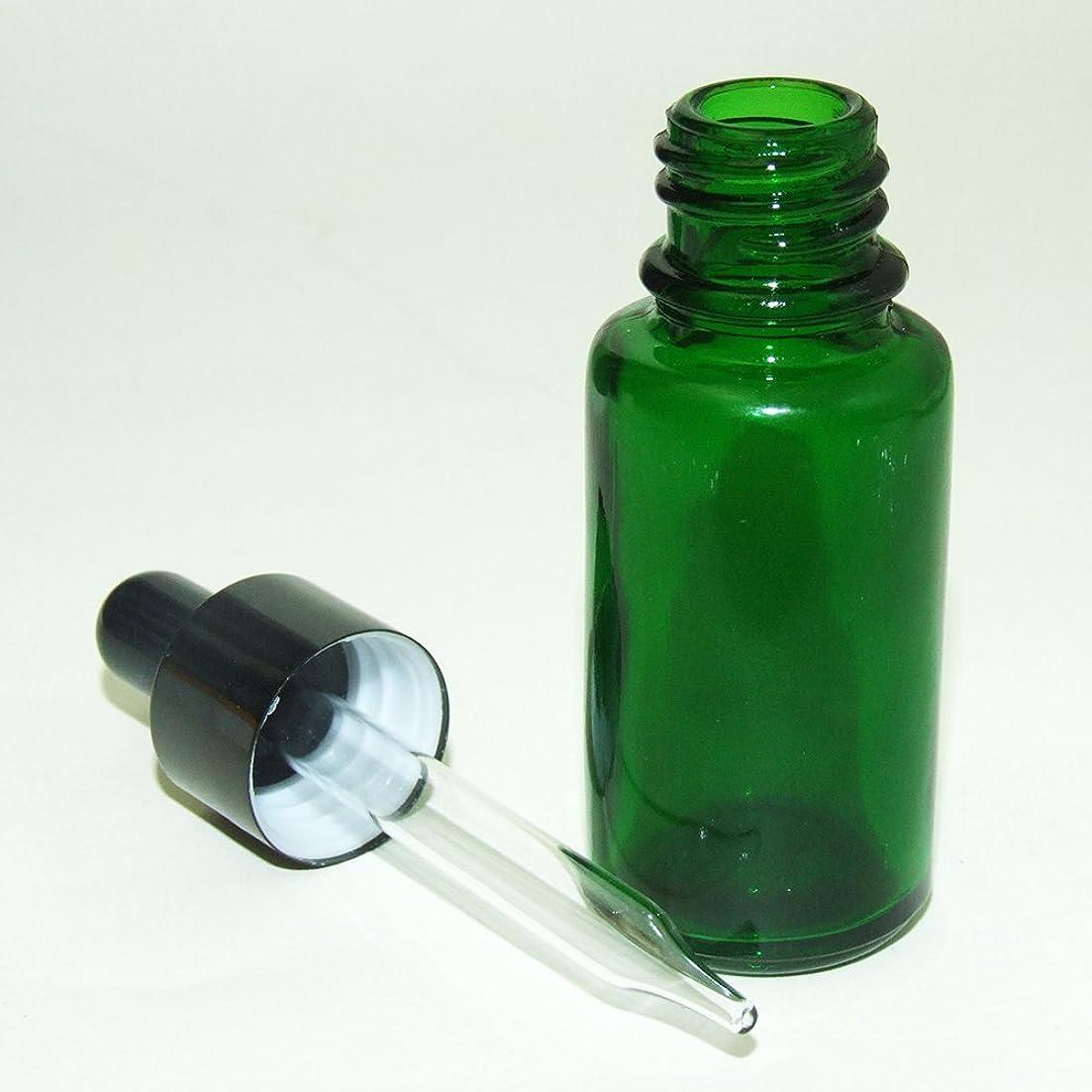 安心災難間に合わせガレージ?ゼロ 遮光ガラス スポイド瓶 先細タイプ 緑 15ml(GZKP32)×10個 アロマ保存 GSE678