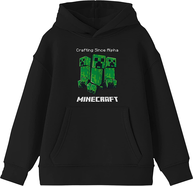 Minecraft Video Game Alpha Youth Boys Black Hooded Sweatshirt