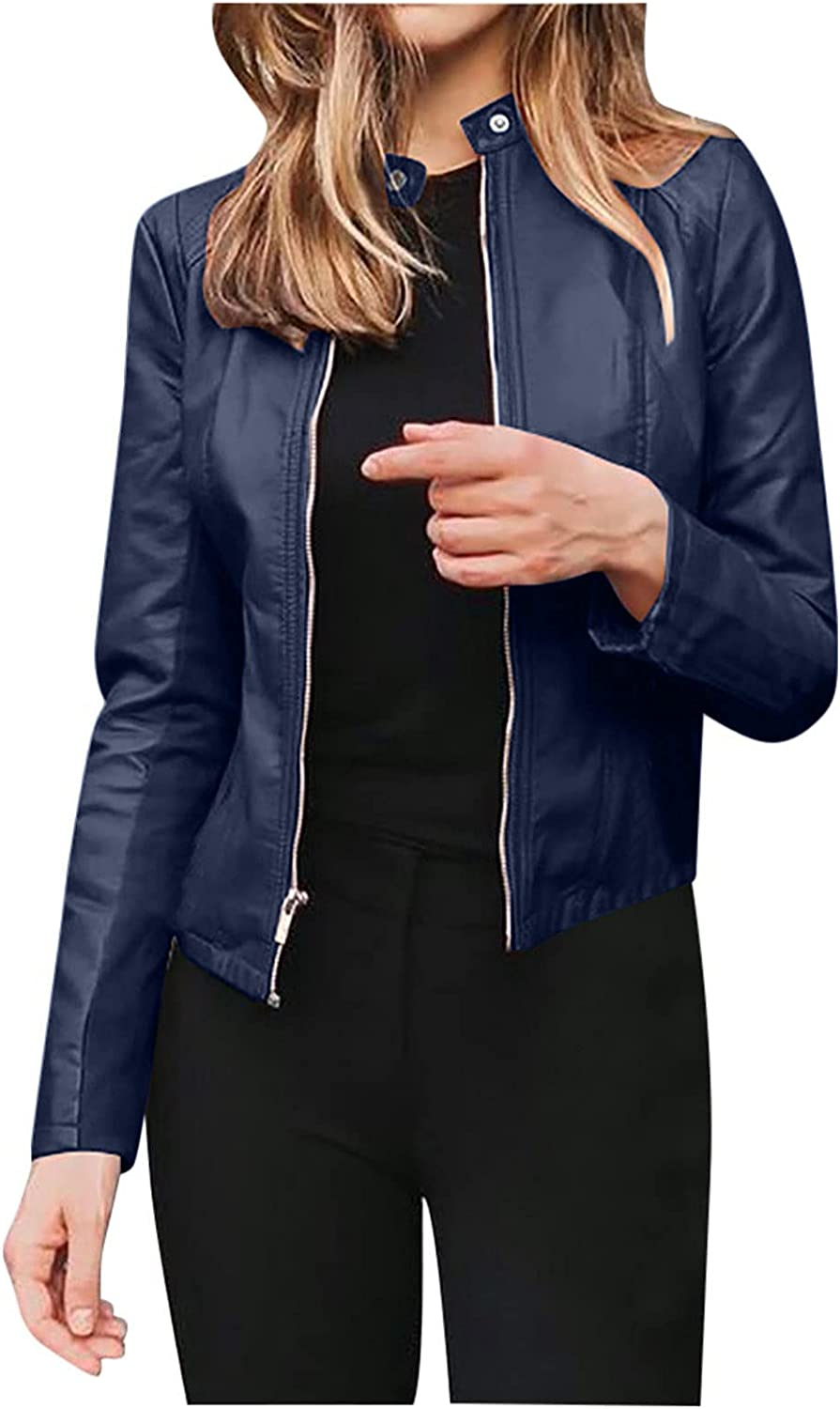 Womens Pu Leather Jacket Open Front Long Sleeve Cardigan Stand Collar Moto Coat Slim Fit Basic Solid Color Tops