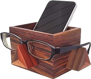 【木kara】 唐木 メガネ置き付き小物入れ 高級 スマートフォンスタンド