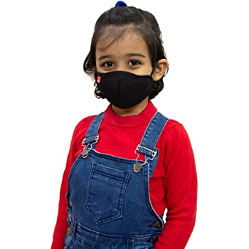 Toytle Anti-Pollution 4 Layer Cotton Washable And Reusable Mask For Kids (Black) Make In India Initiative (Pack of 2) Age- 3 To 8 Years, From ISO 9001 & CE Certified Company