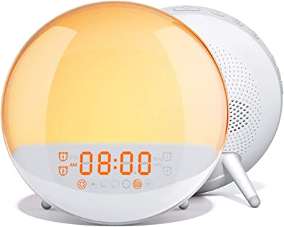 AUKEY Wake Up Licht Lichtwecker Sonnenaufgangssimulation Wecker mit Einschlafhilfe, FM-Radio, 7 Naturklänge, 7 Farben, 20 Helligkeitsstufen und 16 Lautstärkeeinstellungen Nachlicht für Schlafzimmer