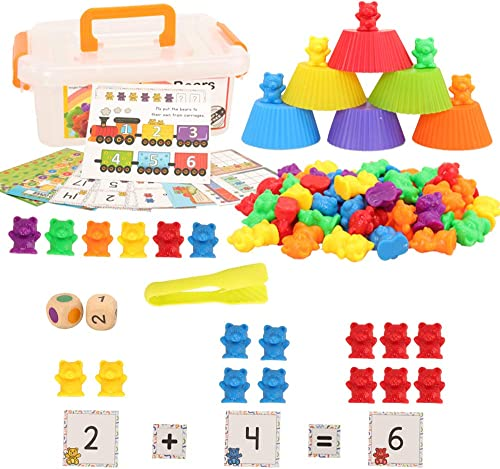 Barwa Colorful Counting Bears Set - Montessori Rainbow Bears Mathing Game with Stacking Cups Number Color Recognition...