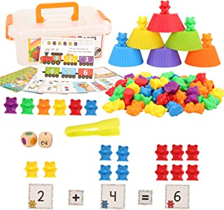 Barwa Colorful Counting Bears Set - Montessori Rainbow Bears Mathing Game with Stacking Cups Number Color Recognition, Edu...
