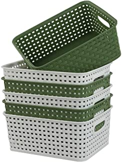 Ucake Cestas Organizador de Plástico de Escritorio, Color Blanco Verde Oscuro, 6 paquetes