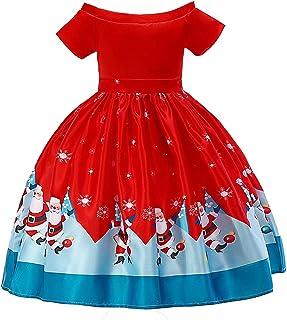 HUAANIUE Girls Dress Christmas Eve Snow Holiday Party Dress