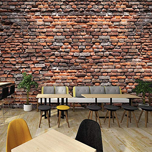 XLXBH 3D muurschildering zelf-hechtend behang 3D muurafbeelding simulatie behang café restaurant woonkamer bar thee huis decoratie pastorale oude bakstenen muur papier wandafbeelding, kinderkamer kantoor eetz 200x140 cm (BxH) 4 Streifen - selbstklebend
