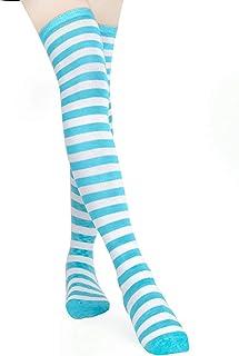 Habi, 1 par de medias largas de rayas para mujer por encima de la rodilla en azul, rosa y blanco azul Talla única