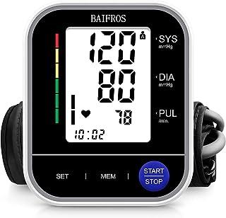 Tensiómetro de Brazo, BAIFROS Monitor de Presión Arterial Digital Automatico con Gran Pantalla LED, Deteccion de Irregular Arritmia, Brazalete 22-40cm, 2x120 Memoria y Recargable USB
