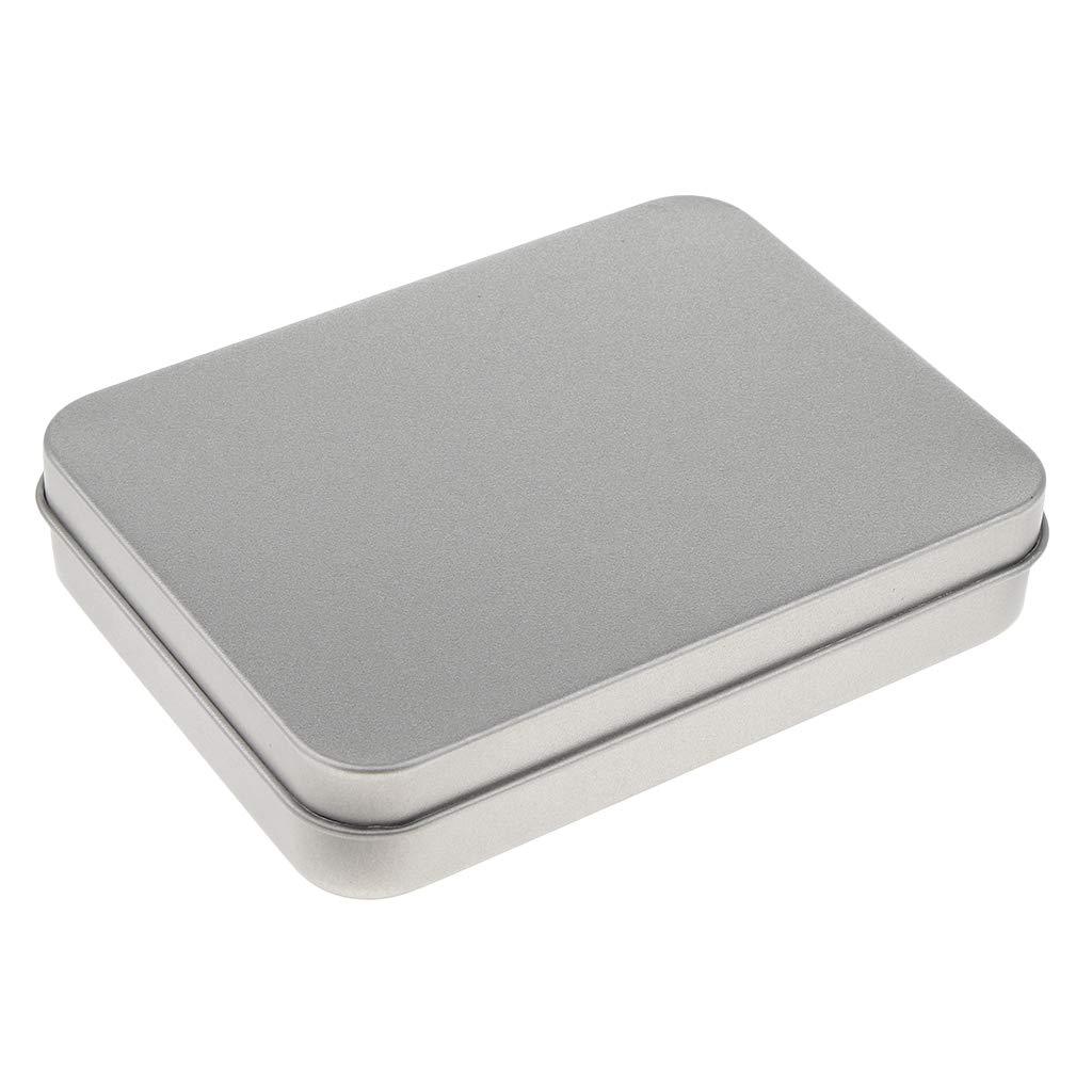 Caja De Lata Vacía Vacía Organizador Portátil De Contenedores De Almacenamiento Para El Hogar (11.5x8.5x2.3 Cm) - Plata: Amazon.es: Oficina y papelería