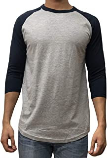 Men's Plain Raglan Baseball Tee T-Shirt Unisex 3/4 Sleeve Casual Athletic Performance Jersey Shirt (24+ Colors)