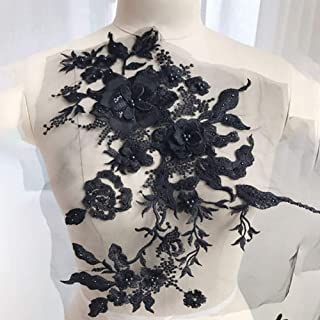Lumpna Embroidery Applique Beaded Flowers Wedding Dress Home Decoration Patches Sticker DIY 3D Accessories Bridal Pearl Rhinestone Handmade Sewing Tool for Clothes Tulle Lace Fabric(Black)