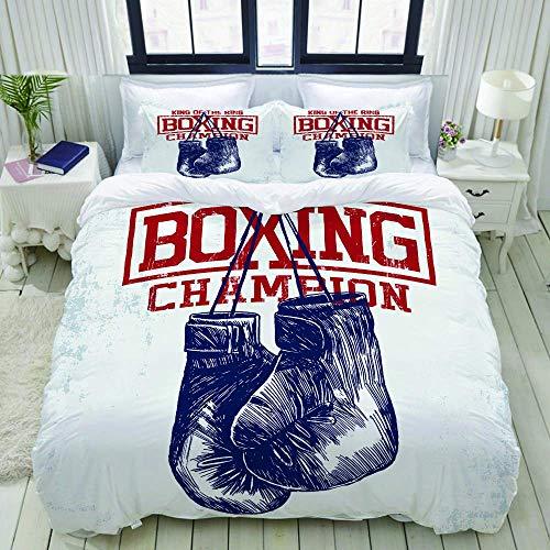 Funda nórdica, guantes de boxeo vintage para gimnasio, boxeador de entrenamiento deportivo, boxeador de fitness, juego de ropa de cama, juego de fundas de edredón de poliéster ultra cómodo y ligero de