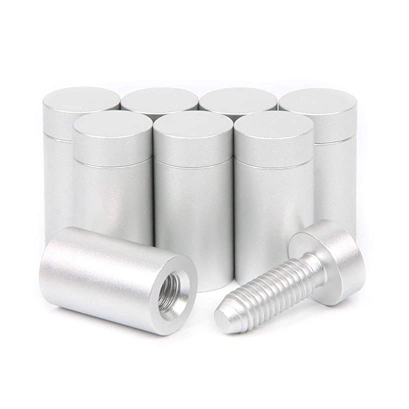Aluminum Standoff Screws 15x25 mm for Sign Holder Silver Mounts Finish Advertising Nails Wall Connector for Acrylic Glass PVC Wood Panel 8 Pcs