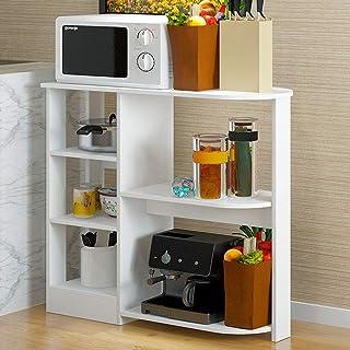 LINPAN Rangement Cuisine Organisateur étagère Micro-Ondes Support en Bois Cuisine Baker Rack 4 Niveaux + 3 Niveaux Etagère...