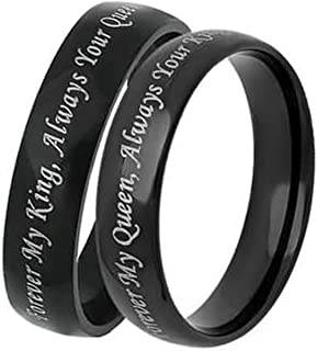 Bishilin Couple Rings for Him and Her Forever My King/Queen, Always Your Queen/King Black