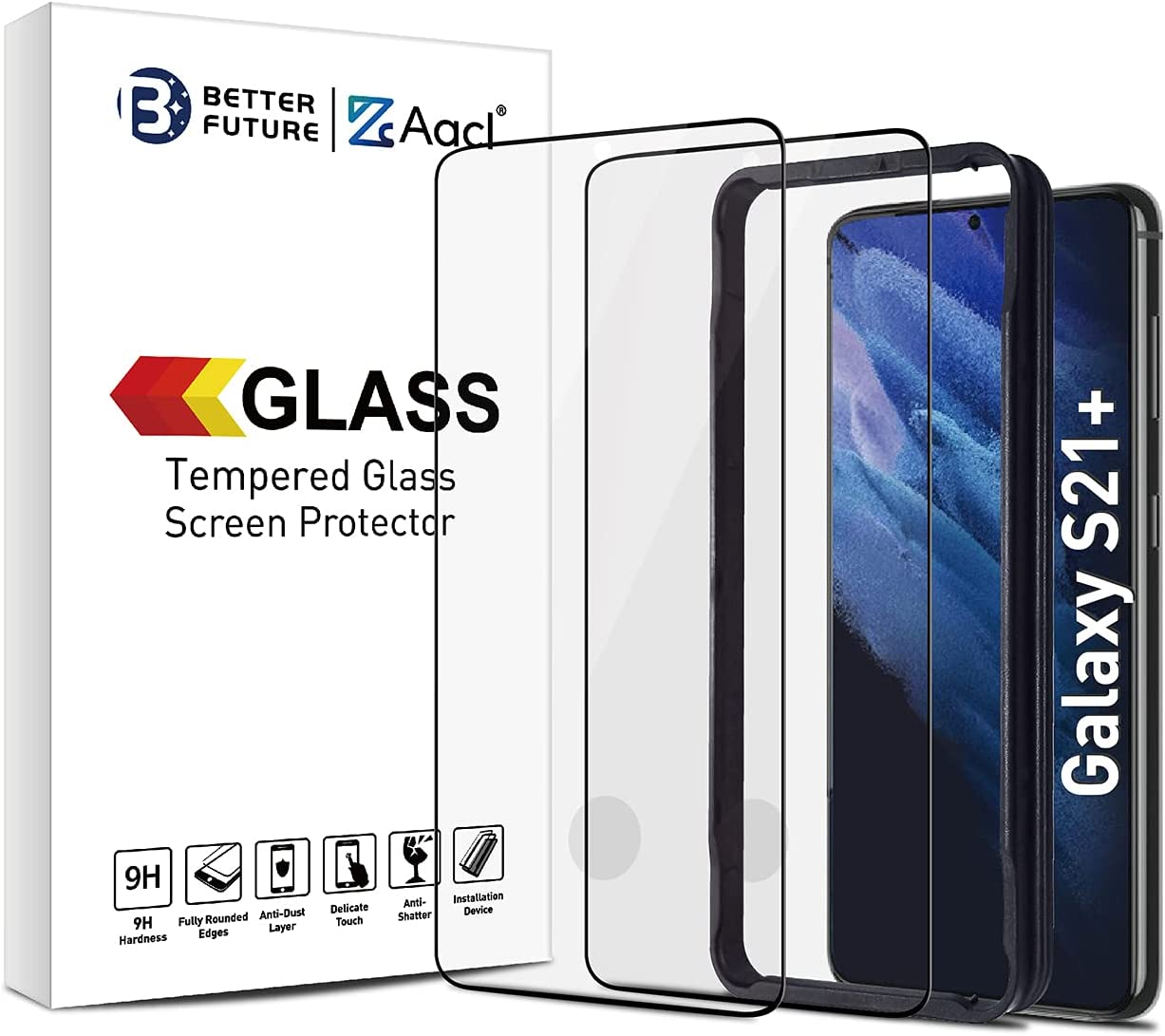 Screen Protector for Samsung Galaxy S21 Plus 5G,6.7 Inch,Tempered Glass Film,Compatible with Ultrasonic Fingerprint Scanner,2 Pack,Black