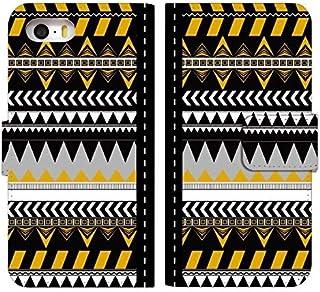 [かんたんスマホ2 A001KC] ケース 手帳型 スマホケース a001kc カバー カンタンスマホ2 a001kc/basio4 kyv47 ケース 手帳 おしゃれ かわいい デザイン ボヘミアン 柄 0080-B. 三角模様イエロー 人気...
