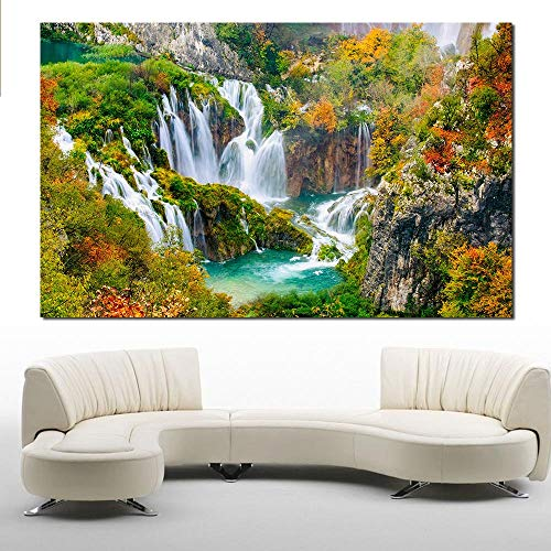 WXQHYD Wallpaper Paste No Frame Oil Painting Wall Painting Featured Waterfall Wall Art Picture For Living Room Canvas Painting (Size (Inch) : 20X34inch)