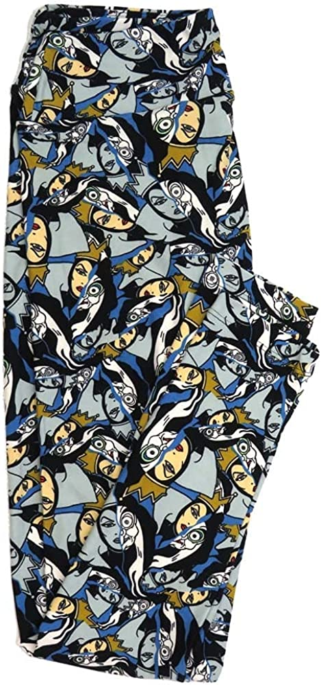 Lularoe One Size OS Disney Sleeping Beauty Evil Queen Old Witch Black Gray White Buttery Soft Womens Leggings fit Adult Sizes 2-10 OS-4356-AQ