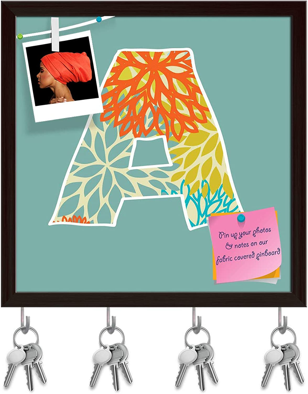Artzfolio Floral Letter A Key Holder Hooks   Notice Pin Board   Dark Brown Frame 20 X 20Inch