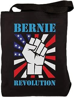 Election 2020 Bernie Sanders Raised Fist Revolution Black Canvas Tote Bag