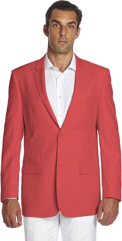 CONCITOR Men's Suit Jacket Separate Blazer Coat Solid CORAL PINK Color 2 Buttons