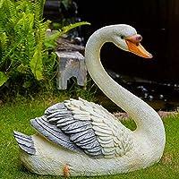 シミュレーション白鳥の彫刻庭の風景のための防水樹脂庭の彫像芝生の装飾クラフトギフト-W:40 * 19 * 33cm、家の装飾