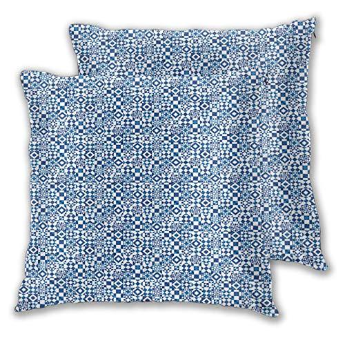 CIKYOWAY Funda de Cojín Suave,Azul Marino Cuadrados Triángulos Flores Estampado,Funda de Almohada Cuadrado para Sofá Cama Decoración para Hogar 65x65cm,Set de 2