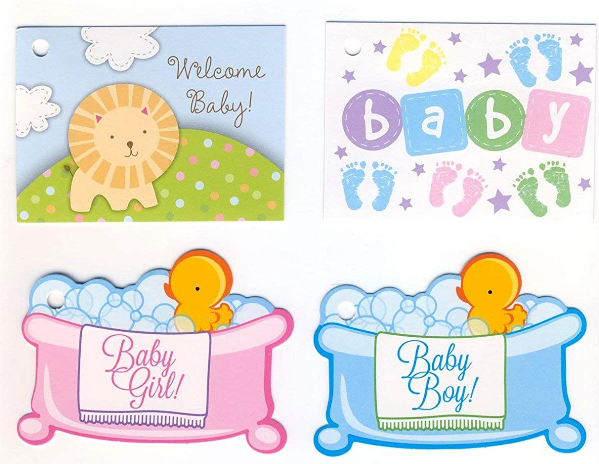 Assorted New Baby Gift Card Tags - 1 dozen (12)