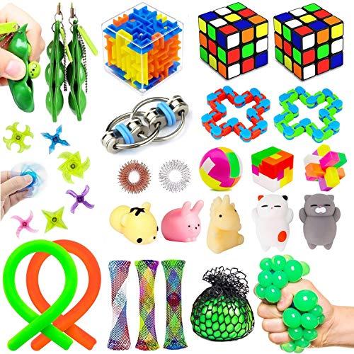 Juego de 27 juguetes sensoriales para aliviar el estrés, juguetes de mano para niños adultos, perfecto para fiestas de cumpleaños, premios de carnaval, premios de caja de tesoro, premios en el aula escolar, premios para bolsas de regalo de Pinata Stuffers