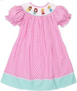 Girls Dress Smocked Princesses Pink Polka-Dot Dress