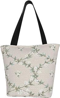 Einkaufstaschen, Lorbeerreben, türkis, weiß, grau, Wandbild, Segeltuch, Einkaufstasche, wiederverwendbar, faltbar, Reisetasche, groß und langlebig, robuste Einkaufstaschen