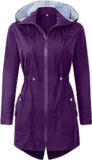 Womens Raincoats Waterproof Windproof Lightweight Rain Jacket Windbreaker Trench Coats with Hood