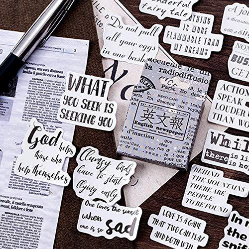 BLOUR 46pcs / Box Handmade English Newspaper DIY Scrapbook Aufkleber Pack DIY Letter Diary Sticke Handbuch Aufkleber