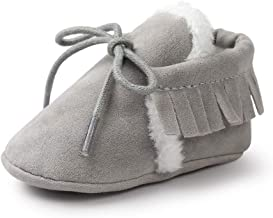 JXF Infant Baby Girls Boys Lace Up Sneakers Slip-On Moccasins Fur Soft Sole Anti-Slip Slippers Toddlers Crib Walking Shoes