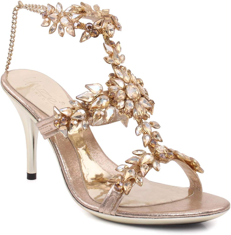 """Unze damen """"Renee"""" Evening T-Design Formal Chain Adjustable Ankle Strap Wedding Designed Jewel Encrusted Platform Stiletto Heel Sandals UK Größe 3-8"""