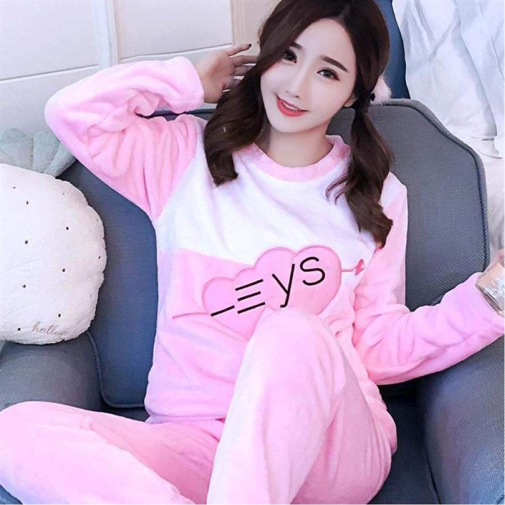 Details about  /Thick Warm Flannel Pajamas Sets for Women Winter Pajama Set Long Sleeve