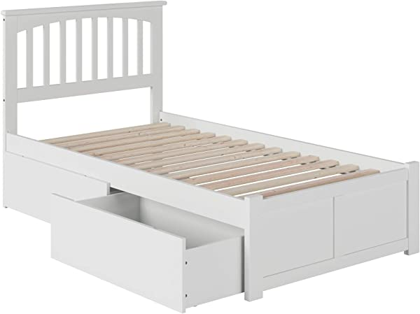 Atlantic Furniture AR8722112 Mission Platform Bed With 2 Urban Bed Drawers Twin White