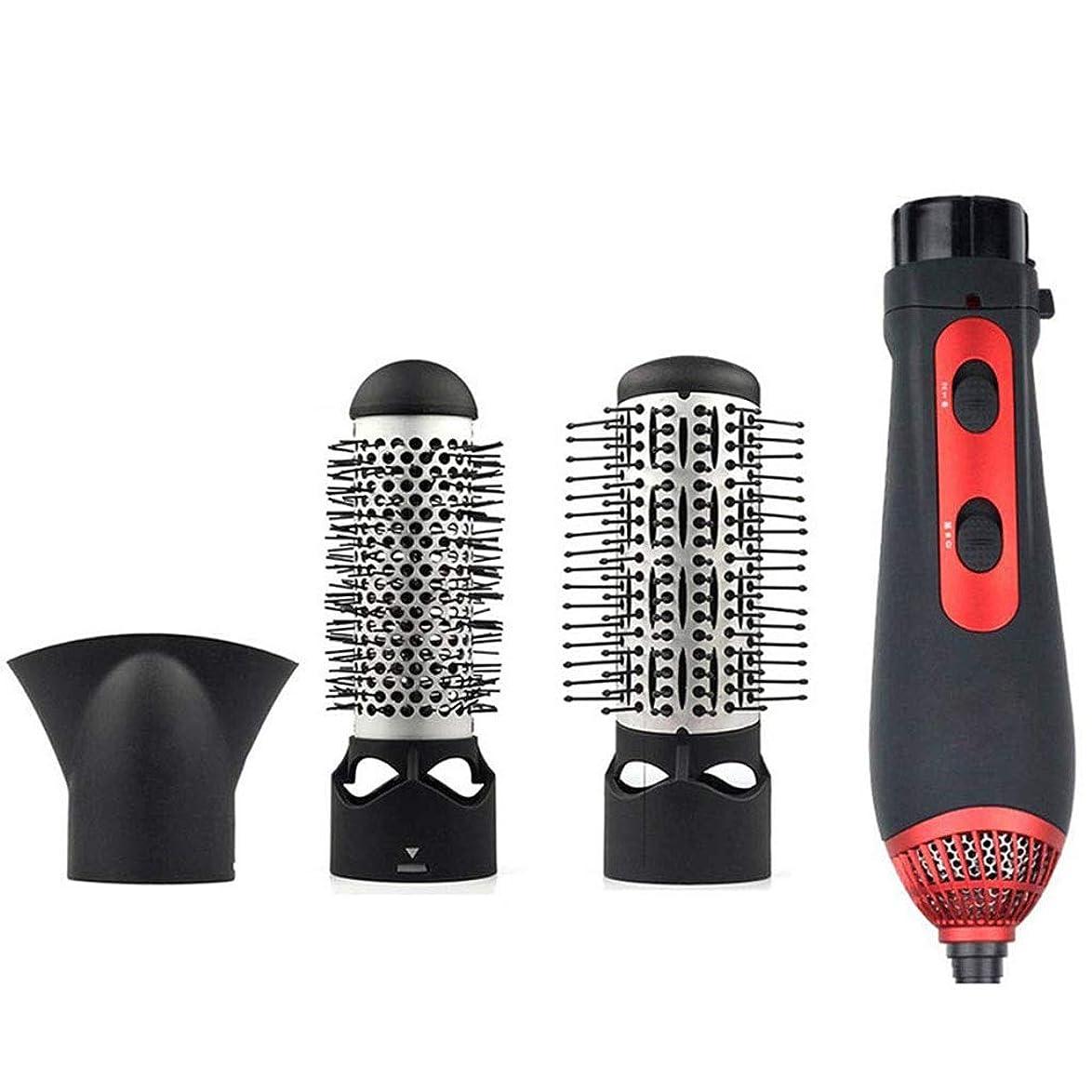 材料エミュレーションしっかり1つに付き3つの熱気のスタイリングのブラシ、ヘアドライヤーのブラシスタイリングのブラシのヘアードライヤーの櫛セット巻き毛のまっすぐな打撃の乾いた髪の長い髪のスタイルのために調整可能な多機能ホットとコールド