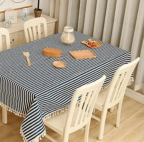Mantel de Tela de algodón y Lino, pequeña Mesa Redonda Fresca y café, hogar, Rectangular, Cubierta de Mesa de jardín H 140x200cm