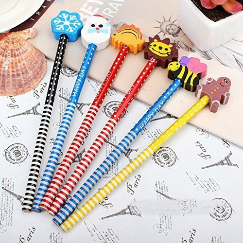 Parteet Birthday Party Return Gifts - Pack of 24 Extra Dark High Quality Pencils with Eraser for Kids - Assorted Designs(Made in India)