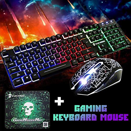 RONSHIN USB Office Regenboog Backlight Toetsenbord Muis Set Mechanisch voor PC Laptop Desktop Gaming Stijlvolle Ergonomische Combo Zwart