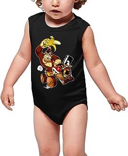 OKIWOKI Mario Kart - Donkey Kong Lustiges Schwarz ärmelloser Baby Strampler - Donkey Kong Mario Kart - Donkey Kong Parodie Ref:666