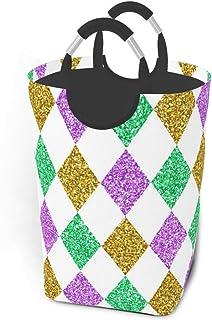 Mardi Gras Paillettes Paniers de rangement à motifs colorés Panier à linge sale et flexible Sac organisateur écologique Ch...