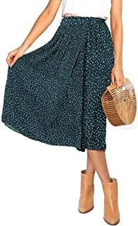Women's Polka Dot Pleated Midi Long Skirt Boho High Waist Floral Print Midi Skirt with Poket for Girls
