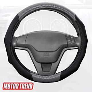 BDK Motor Trend GripDrive Carbon Fiber Steering Wheel Cover – Universal Fit with Microfiber Leather for Steering Wheel Sizes 14.5 15 15.5 inches (Gray)