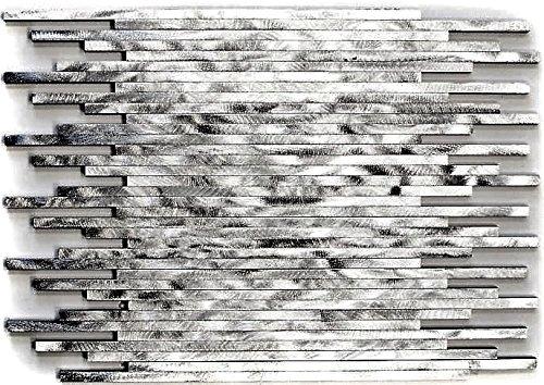 Mosaik Fliese Aluminium Verbund Alu silber gebürstet für WAND BAD WC DUSCHE KÜCHE FLIESENSPIEGEL THEKENVERKLEIDUNG BADEWANNENVERKLEIDUNG Mosaikmatte Mosaikplatte