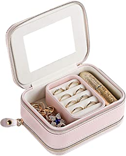 YASEE CHOICE Portable Leather Jewellery Box, Travel Jewellery Box Organizer with Lid for Rings Earrings Necklace Bracelets...