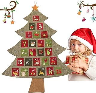 Calendario de Adviento para rellenar con 25 bolsillos – Calendario de Navidad Decoración de Adviento 90 x 60 cm